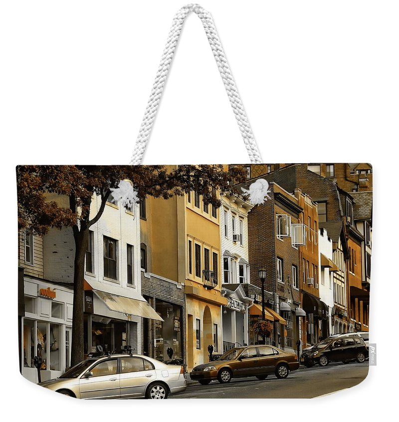 Ct Weekender Tote Bag featuring the photograph Greenwich Avenue by Anthony Dezenzio