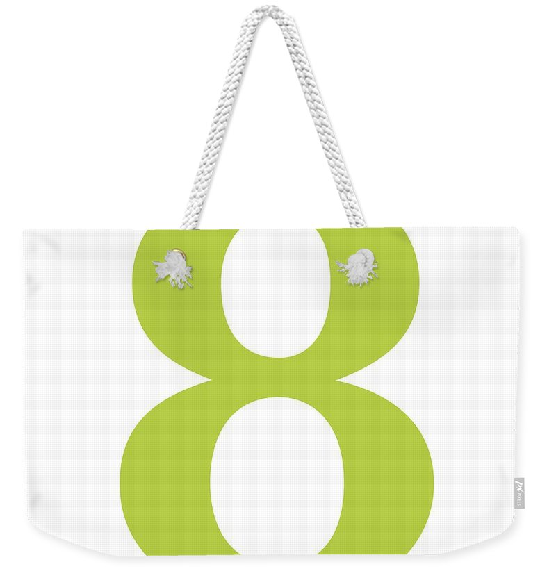 8 Weekender Tote Bag featuring the digital art 8 In Spring Green Typewriter Style by Custom Home Fashions