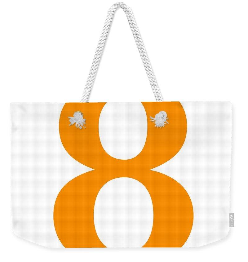 8 Weekender Tote Bag featuring the digital art 8 In Tangerine Typewriter Style by Custom Home Fashions