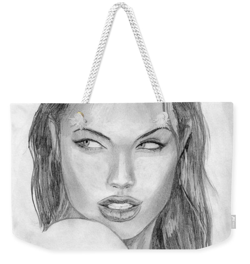 Angelina Jolie Weekender Tote Bag featuring the drawing 8 by Kristopher VonKaufman
