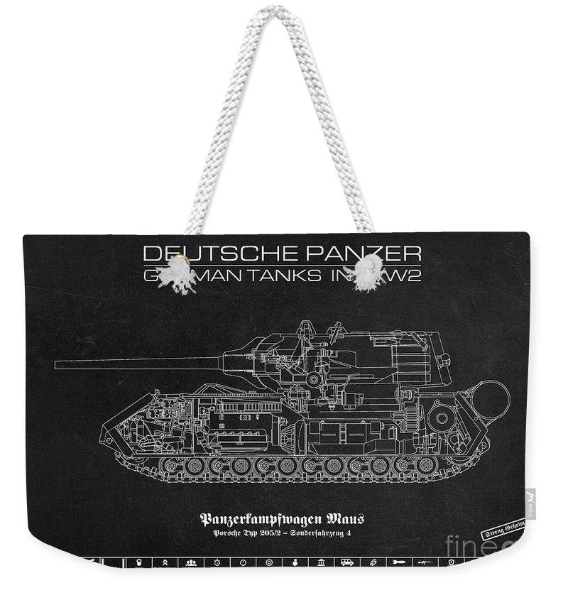 Panzer Of The German Wehrmacht - Blueprint Weekender Tote Bag featuring the digital art Panzerkampfwagen Maus by Marcel Thomas