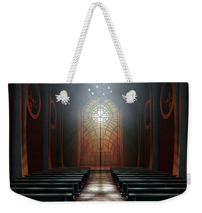 Church Weekender Tote Bag featuring the photograph Stained Glass Window Church by Allan Swart