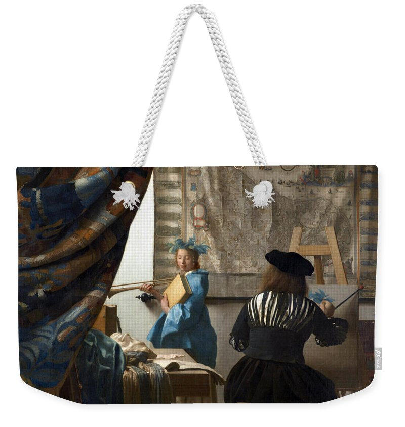 Johannes Vermeer Weekender Tote Bag featuring the painting The Art Of Painting by Johannes Vermeer