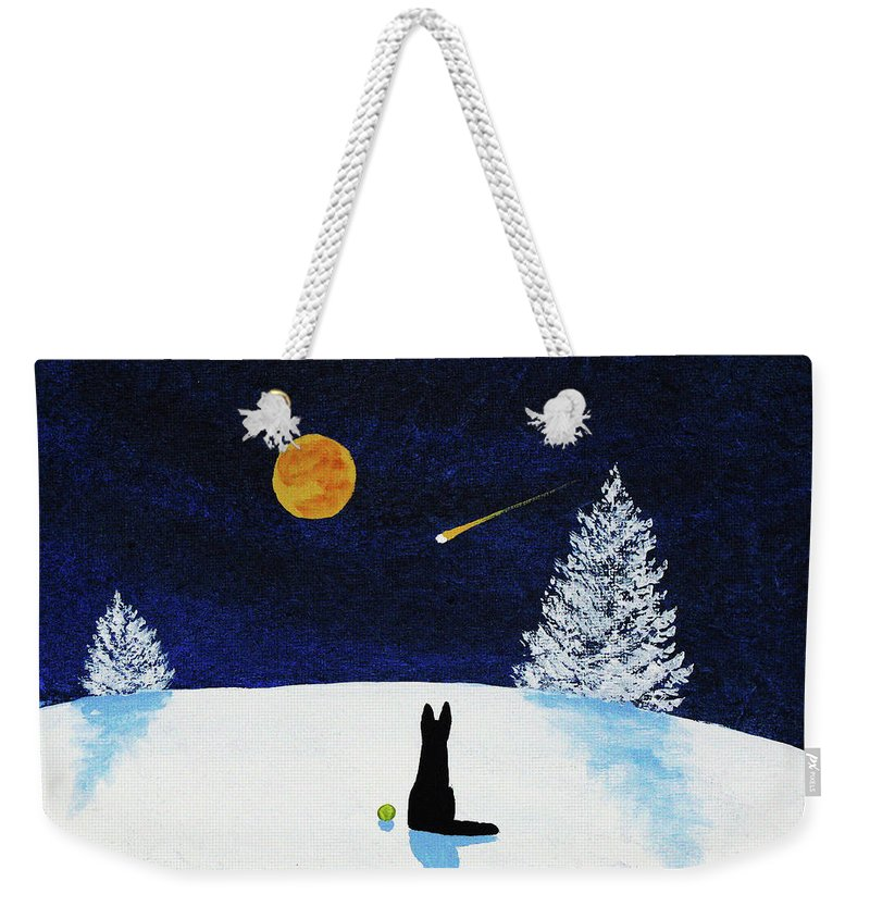 Black Weekender Tote Bag featuring the painting Winter Star by Todd Young
