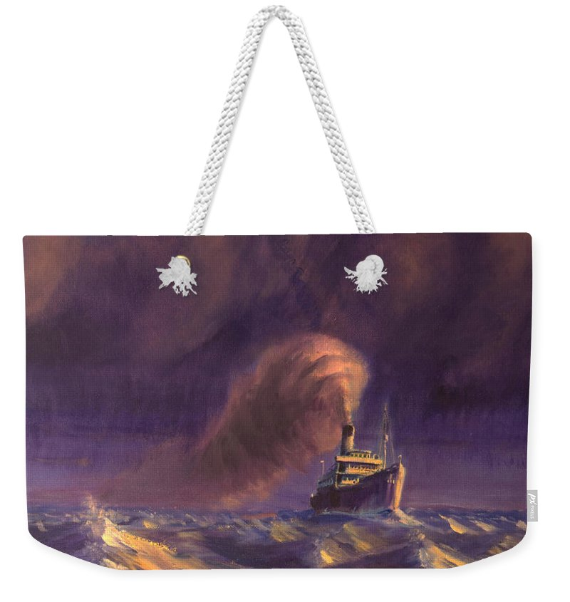 Ship Weekender Tote Bag featuring the painting 8000 Miles From Home by Christopher Jenkins