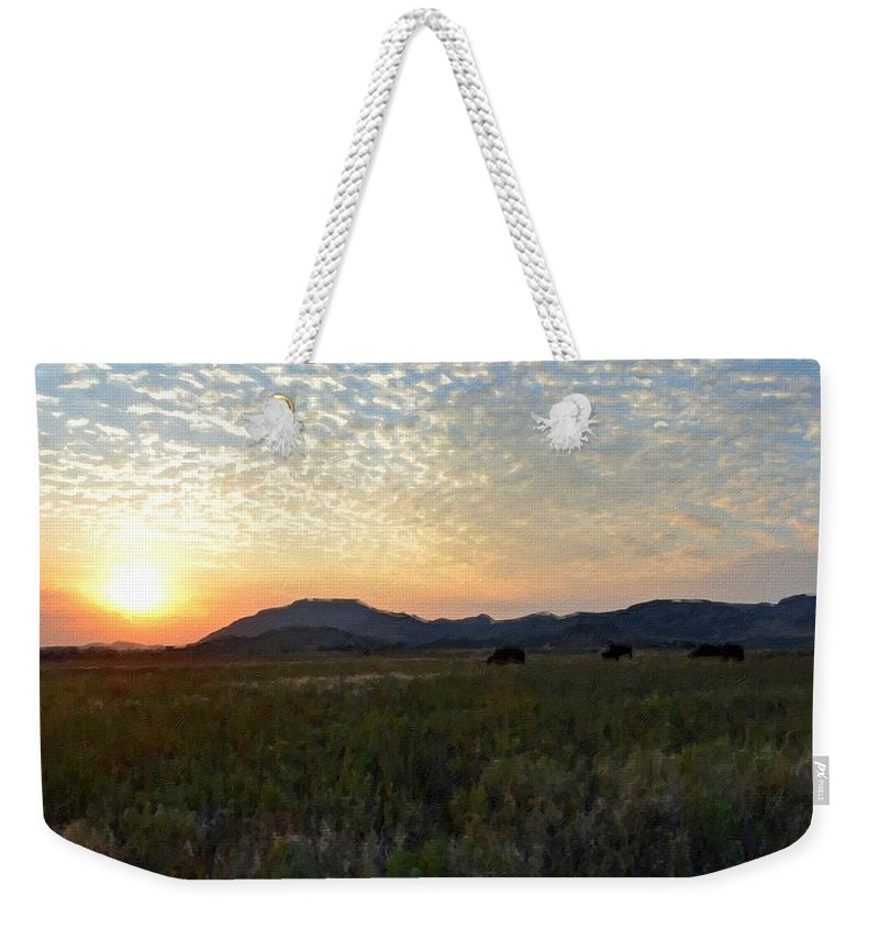 Print Weekender Tote Bag featuring the digital art Landscape Oil Painting For Sale by Usa Map