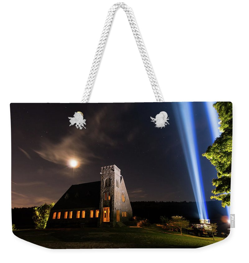 9/11 9-11 911 Nine Eleven Nine-eleven September Eleventh 11 9 West W Boylston Ma Mass Massachusetts Old Stone Church Architecture Lights Beams Light Moon Sky Night Darkness Dark Outside Outdoors Memorial Tribute Trees Wachusett Reservoir New England Newengland U.s.a. Usa Brian Hale Brianhalephoto Clouds Weekender Tote Bag featuring the photograph 9/11 Memorial Up Close by Brian Hale