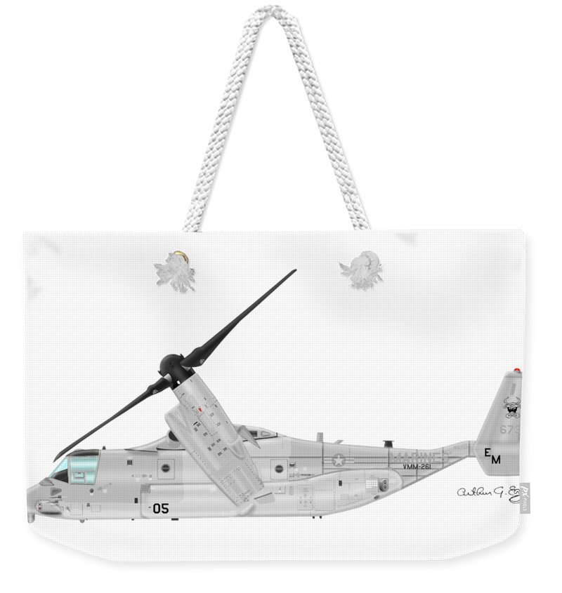 Bell Weekender Tote Bag featuring the digital art Bell-boeing Mv-22b Osprey by Arthur Eggers