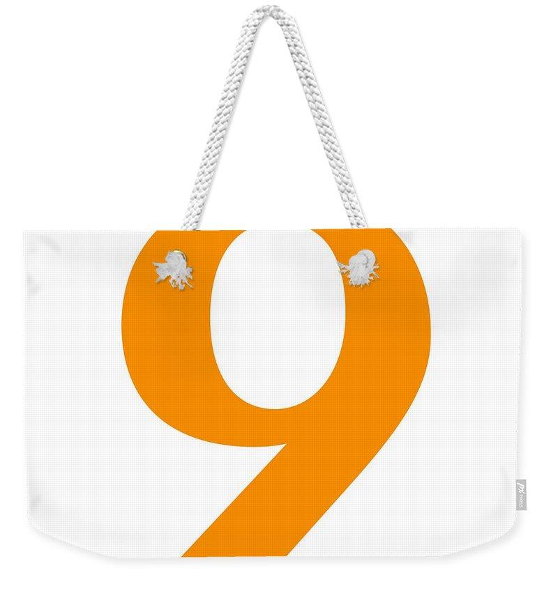 9 Weekender Tote Bag featuring the digital art 9 In Tangerine Typewriter Style by Custom Home Fashions