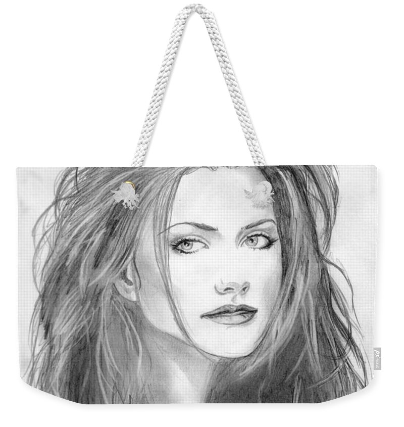 Girl Weekender Tote Bag featuring the drawing 9 by Kristopher VonKaufman