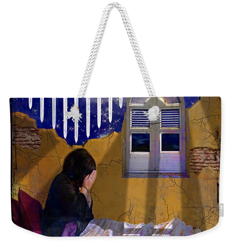 Tarot Weekender Tote Bag featuring the digital art 9 Of Swords by Tammy Wetzel