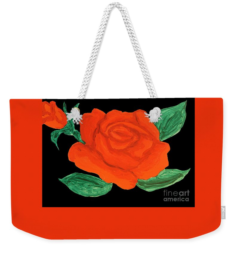 Art Weekender Tote Bag featuring the painting Red Rose, Painting by Irina Afonskaya