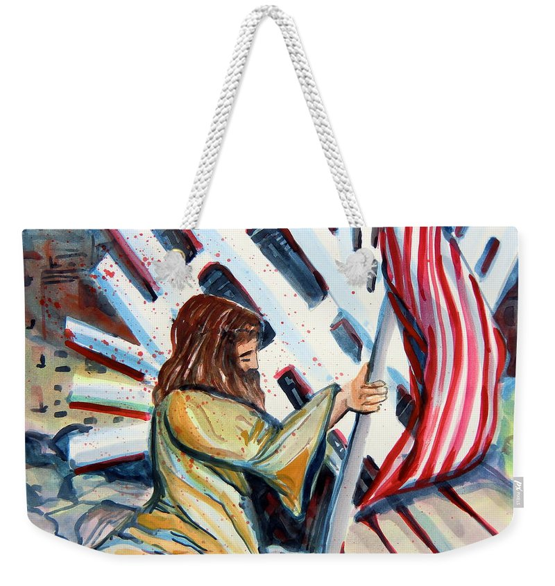 911 Weekender Tote Bag featuring the painting 911 Cries For Jesus by Mindy Newman
