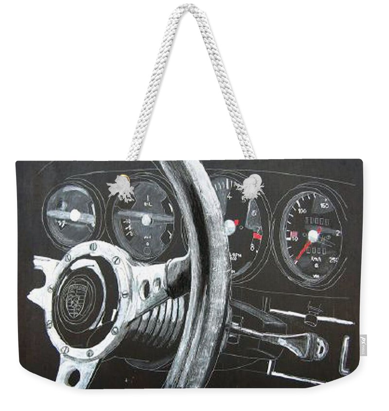 Car Weekender Tote Bag featuring the painting 911 Porsche Dash by Richard Le Page