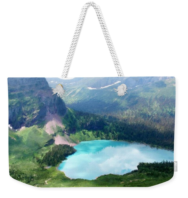Landscape Weekender Tote Bag featuring the digital art Oil Painting Landscape Pictures by Usa Map