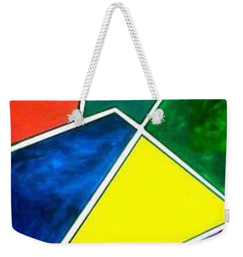 Primary And Sondary Colors Weekender Tote Bag featuring the painting 99870 Colors by Andrew Johnson