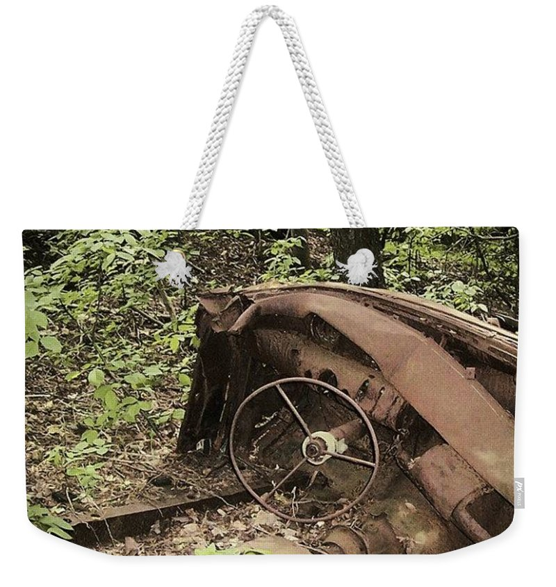Urban Decay Collection By Serge Averbukh Weekender Tote Bag featuring the photograph Abandoned 50s Classic.... by Serge Averbukh