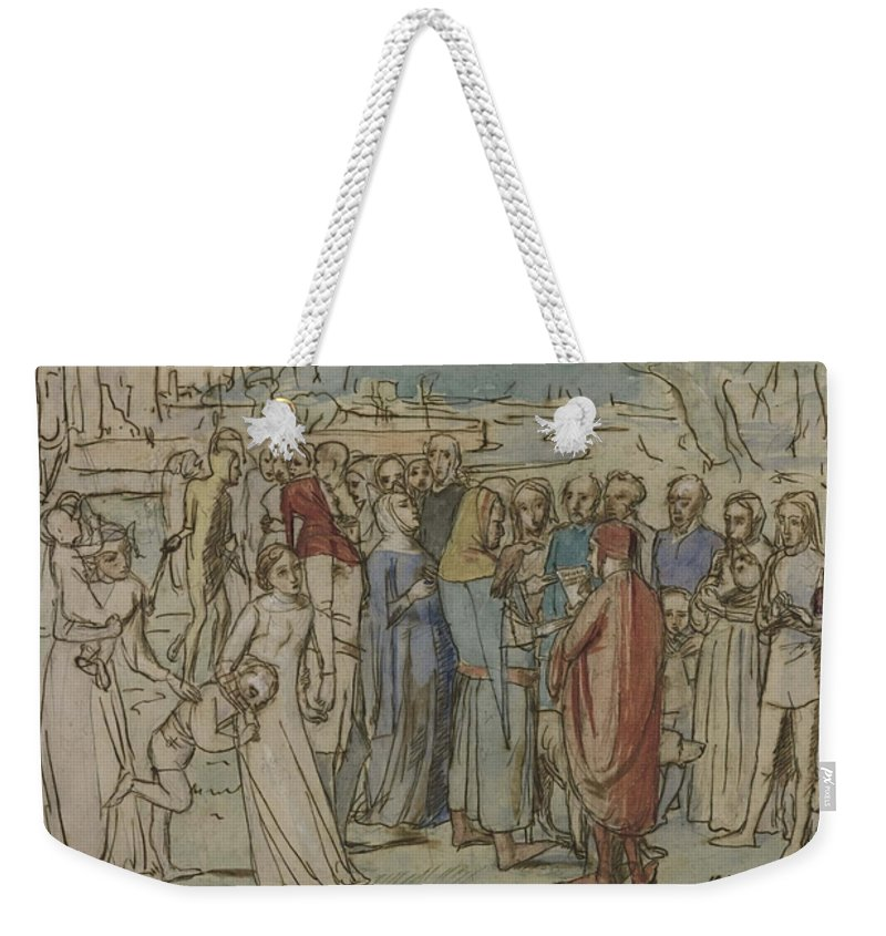 Sir John Everett Millais Weekender Tote Bag featuring the painting A Baron Numbering His Vassals by MotionAge Designs