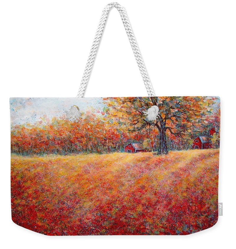 Autumn Landscape Weekender Tote Bag featuring the painting A Beautiful Autumn Day by Natalie Holland