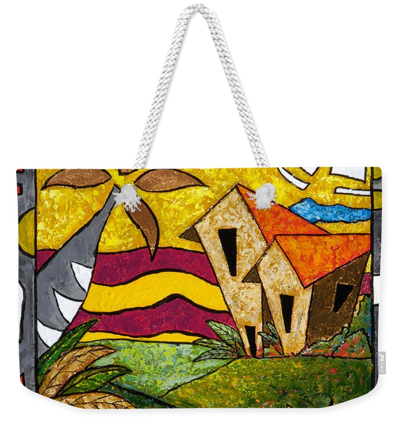 Puerto Rico Weekender Tote Bag featuring the painting A Beautiful Day by Oscar Ortiz