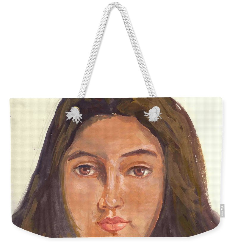 A Young Indian Girl Weekender Tote Bag featuring the painting A Beautiful Girl by Asha Sudhaker Shenoy