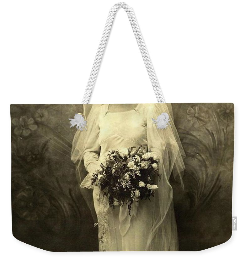 A Beautiful Vintage Photo Of Coloured Colored Lady In Her Wedding Dress Weekender Tote Bag featuring the photograph A Beautiful Vintage Photo Of Coloured Colored Lady In Her Wedding Dress by R Muirhead Art