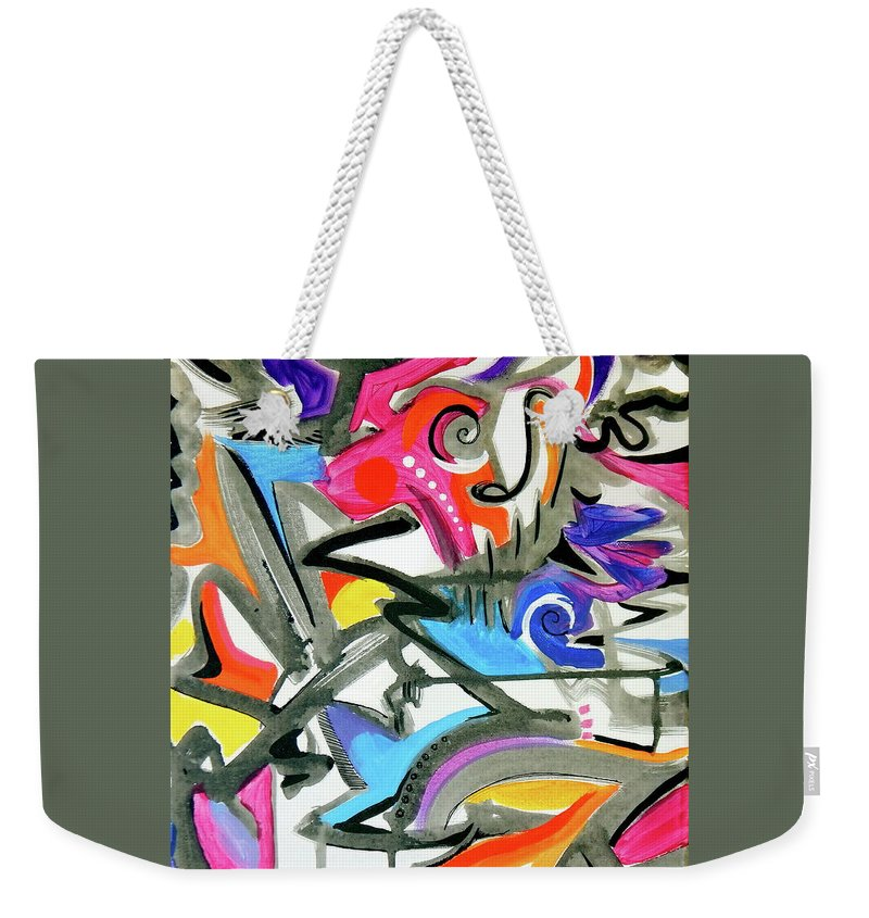 This Feels Like Music To Me .high Energy Vibrant Jazz Maybe .bright Colors Mix With Pastels .gray And Blacklines Add Definition .they Seem To Offer Rythm Weekender Tote Bag featuring the painting A better mousetrap by Priscilla Batzell Expressionist Art Studio Gallery