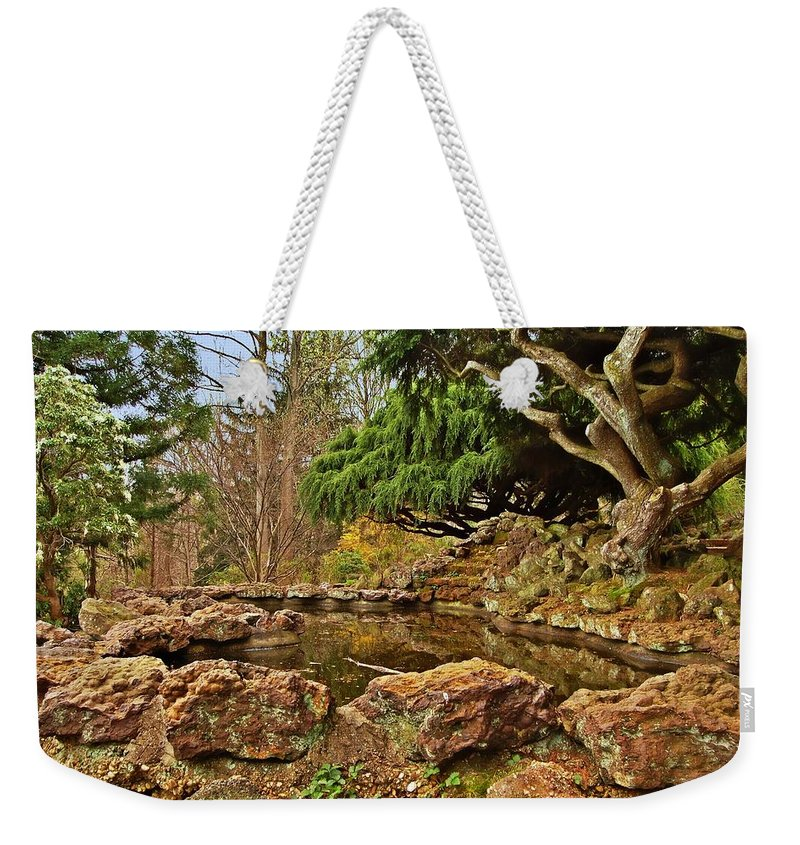Japanese Gardens Weekender Tote Bag featuring the photograph A Better Place - Deep Cut Gardens by Angie Tirado