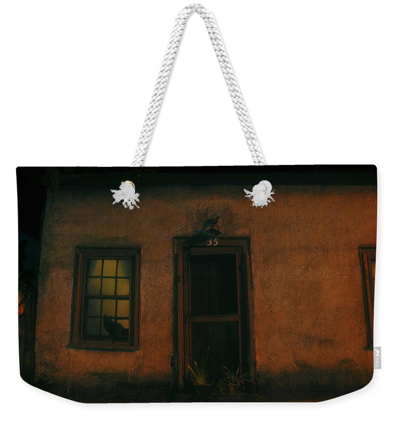 Black Cat Weekender Tote Bag featuring the photograph A Black Cat's Night by David Lee Thompson