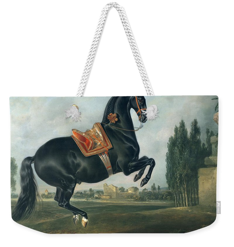 Black Weekender Tote Bag featuring the painting A Black Horse Performing The Courbette by Johann Georg Hamilton