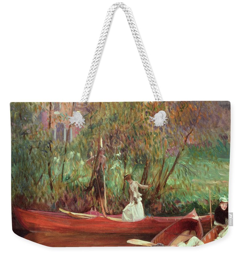 A Boating Party (oil On Canvas) By John Singer Sargent (1856-1925) Weekender Tote Bag featuring the painting A Boating Party by John Singer Sargent