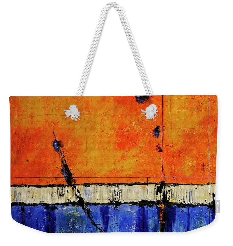Abstract Weekender Tote Bag featuring the painting A Brand New Day by Jim Benest