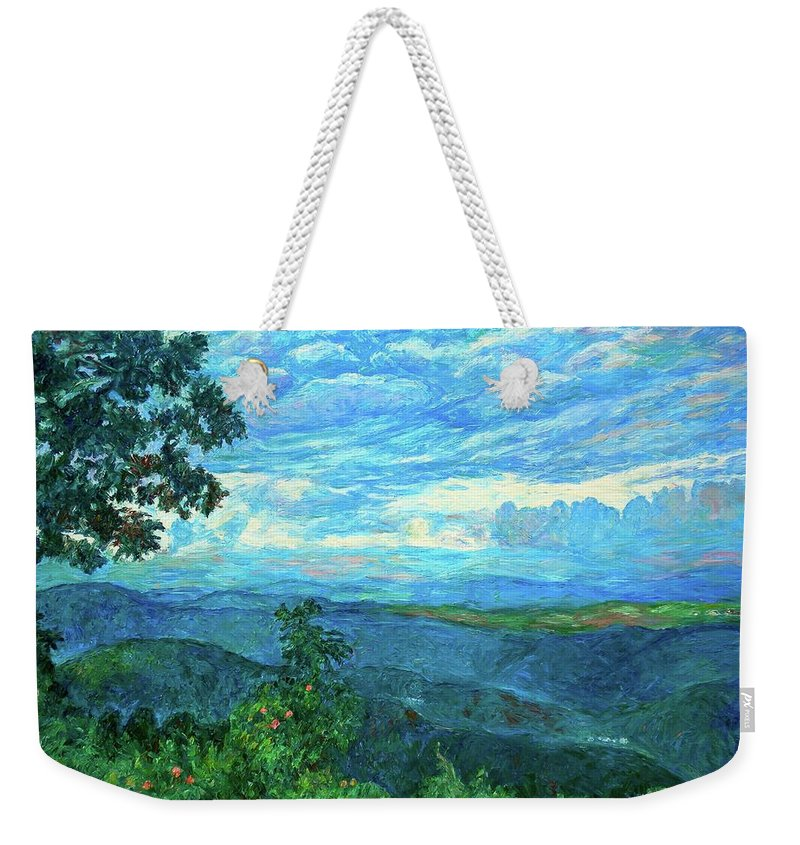 Mountains Weekender Tote Bag featuring the painting A Break In The Clouds by Kendall Kessler