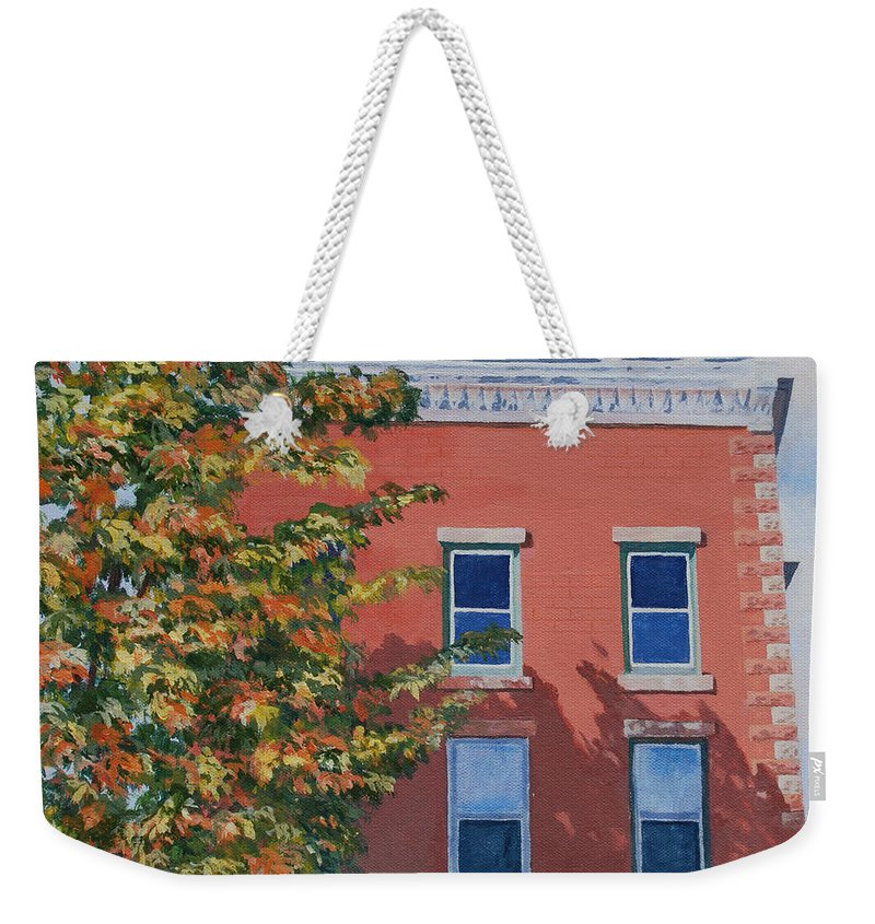 Acrylic Weekender Tote Bag featuring the painting A Brick In Time by Lynne Reichhart