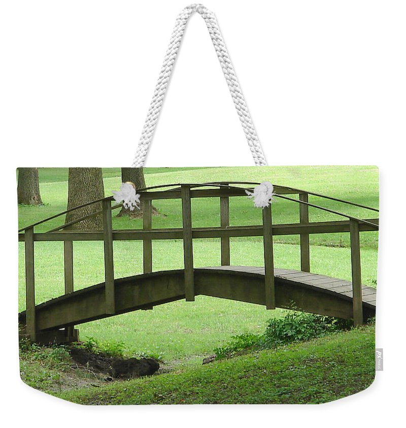 Bridge Green Grass Weekender Tote Bag featuring the photograph A Bridge In Washington County by Luciana Seymour