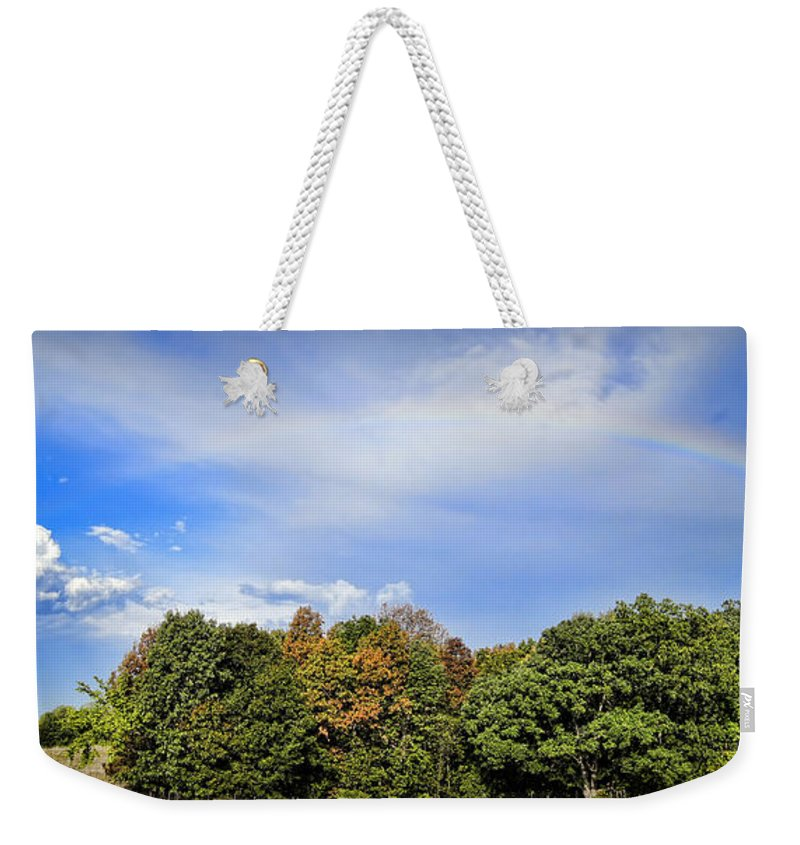 Sky Weekender Tote Bag featuring the photograph A Bridge To Sunshine by Cricket Hackmann