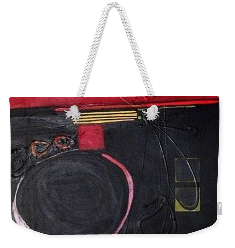 Abstract Weekender Tote Bag featuring the painting A Broken Heart by Marlene Burns