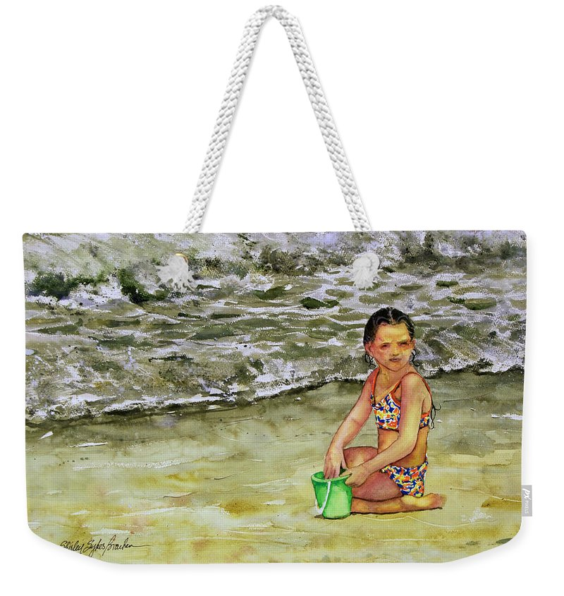 Sun Weekender Tote Bag featuring the painting A Bucket Full Of Ocean by Shirley Sykes Bracken