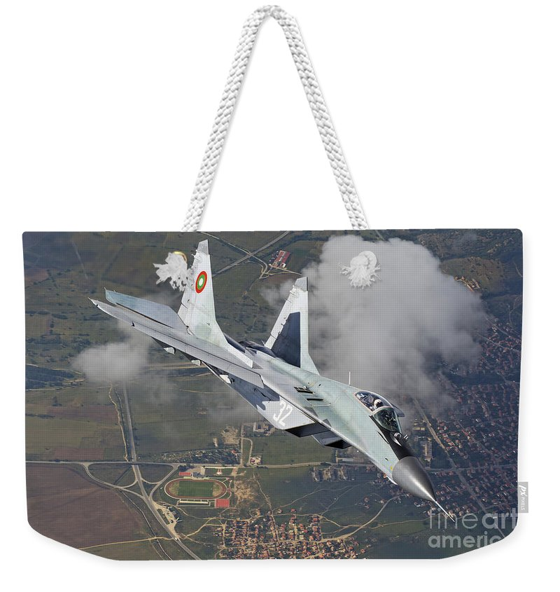 Bulgaria Weekender Tote Bag featuring the photograph A Bulgarian Air Force Mig-29 In Flight by Daniele Faccioli
