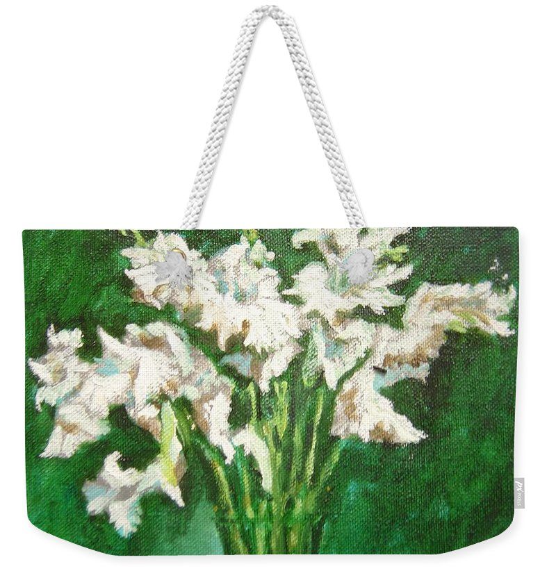 Bunch Weekender Tote Bag featuring the painting A Bunch Of White Gladioli by Usha Shantharam