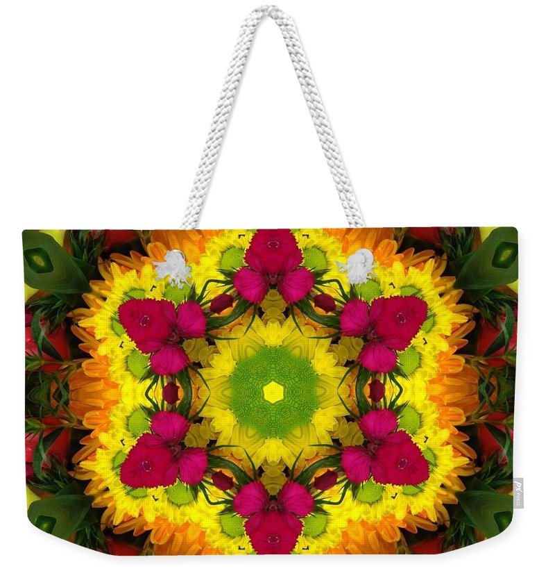Kaleidoscope Weekender Tote Bag featuring the photograph A Burst Of Flowers Kaleidoscope by Pamela Picassito