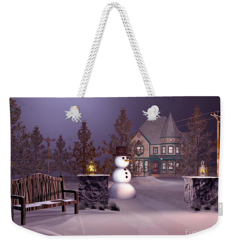 Winter Landscape Weekender Tote Bag featuring the digital art A Calm Winters Night by John Junek