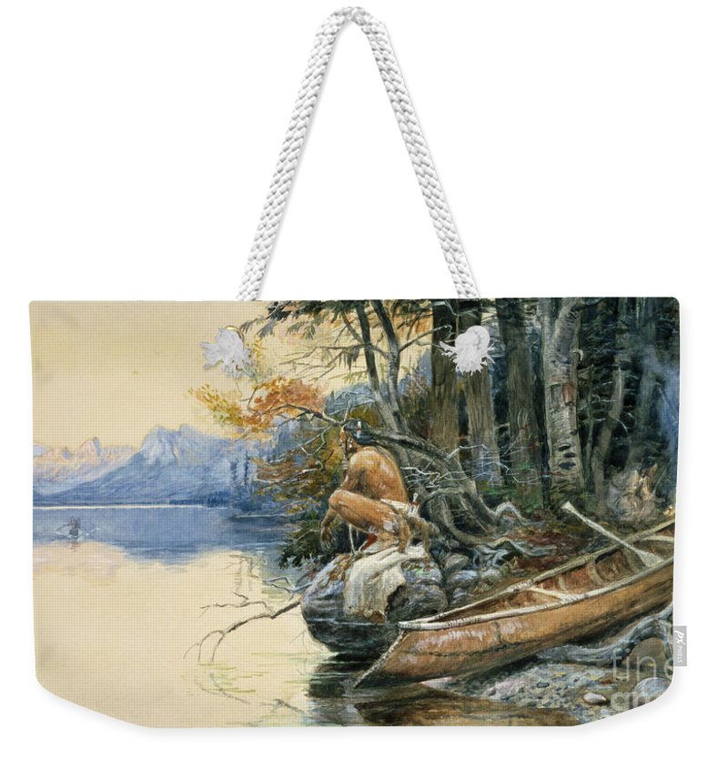 A Camp Site By The Lake Weekender Tote Bag featuring the painting A Camp Site By The Lake by Charles Marion Russell
