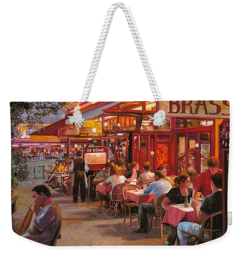 Street Scene Weekender Tote Bag featuring the painting A Cena In Estate by Guido Borelli