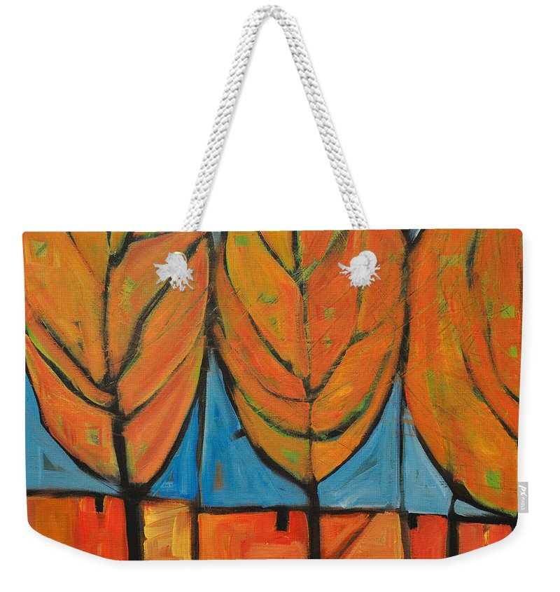 Fall Weekender Tote Bag featuring the painting A Change Of Seasons by Tim Nyberg