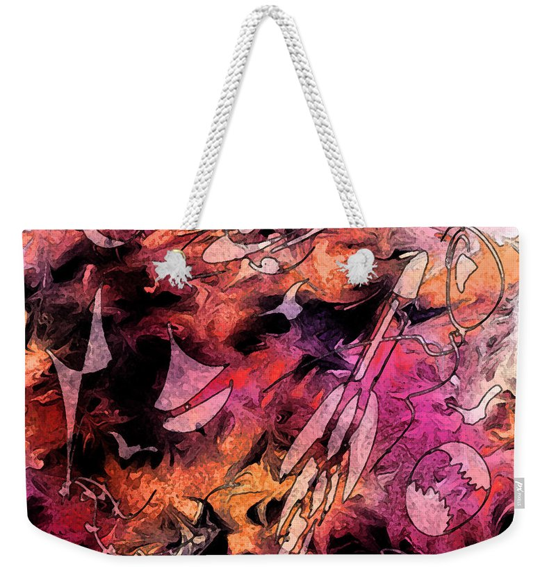 Abstract Weekender Tote Bag featuring the digital art A Childhood by Rachel Christine Nowicki