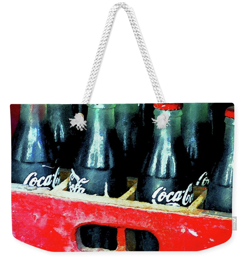 Coke Weekender Tote Bag featuring the painting A Classic Case by David Lee Thompson