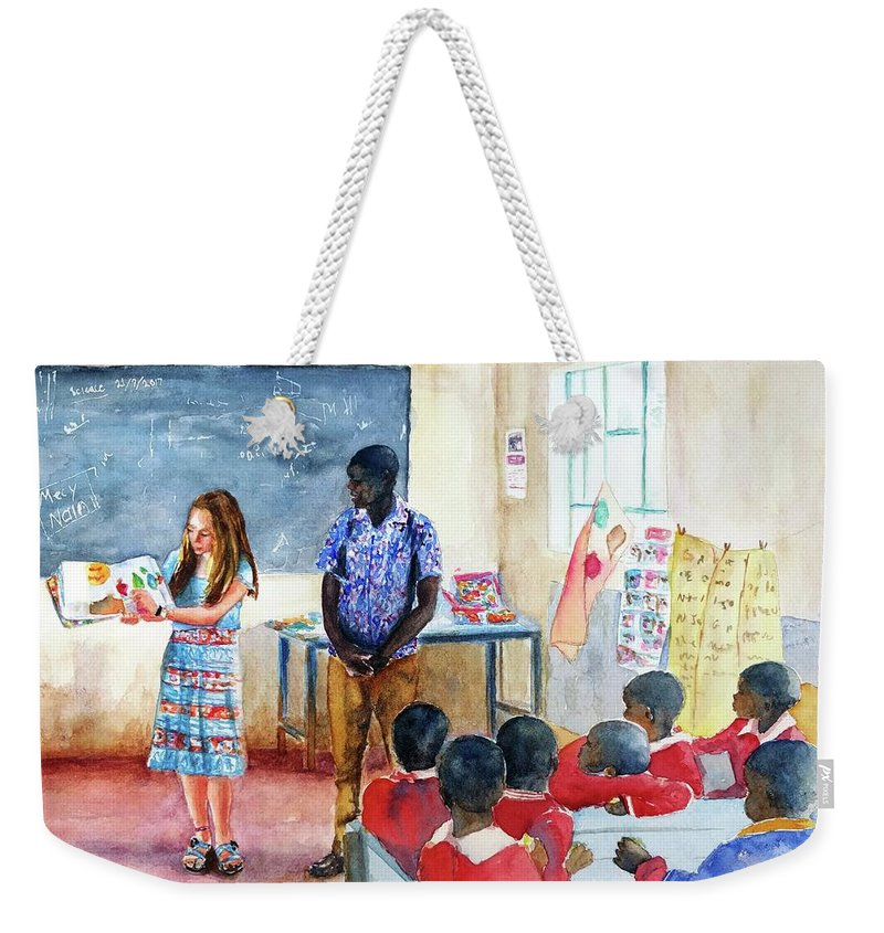 African Classroom Weekender Tote Bag featuring the painting A Classroom In Africa by Carlin Blahnik CarlinArtWatercolor