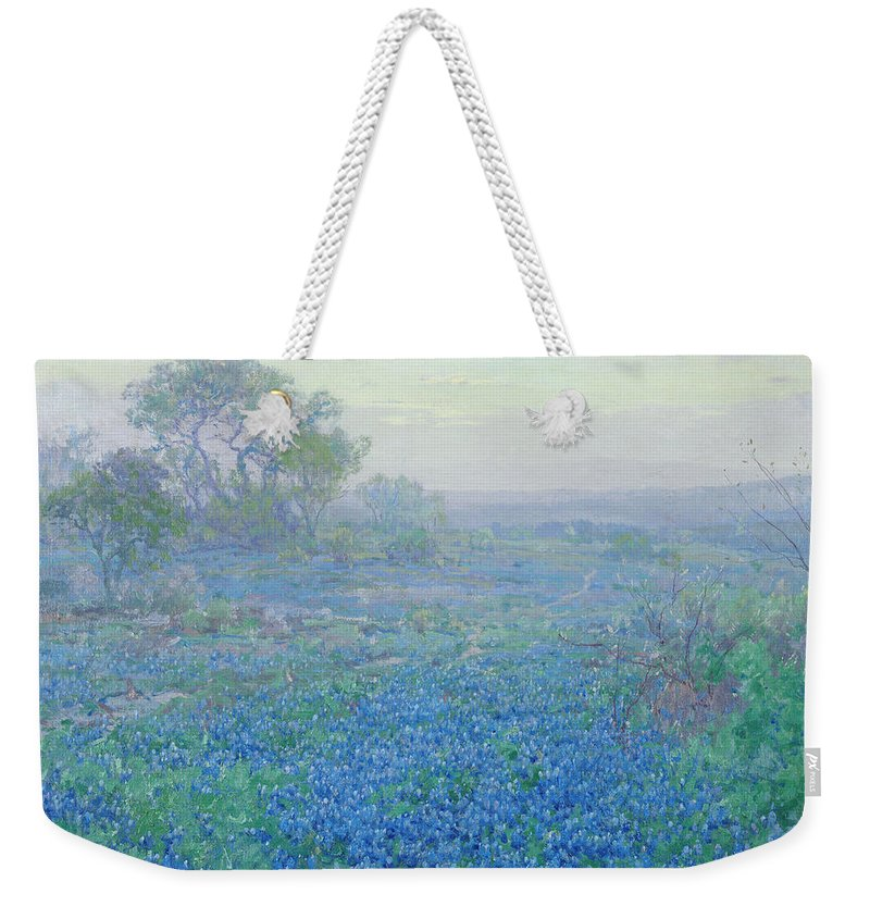 Blue Bonnets Weekender Tote Bag featuring the painting A Cloudy Day, Bluebonnets Near San Antonio, Texas by Julian Onderdonk