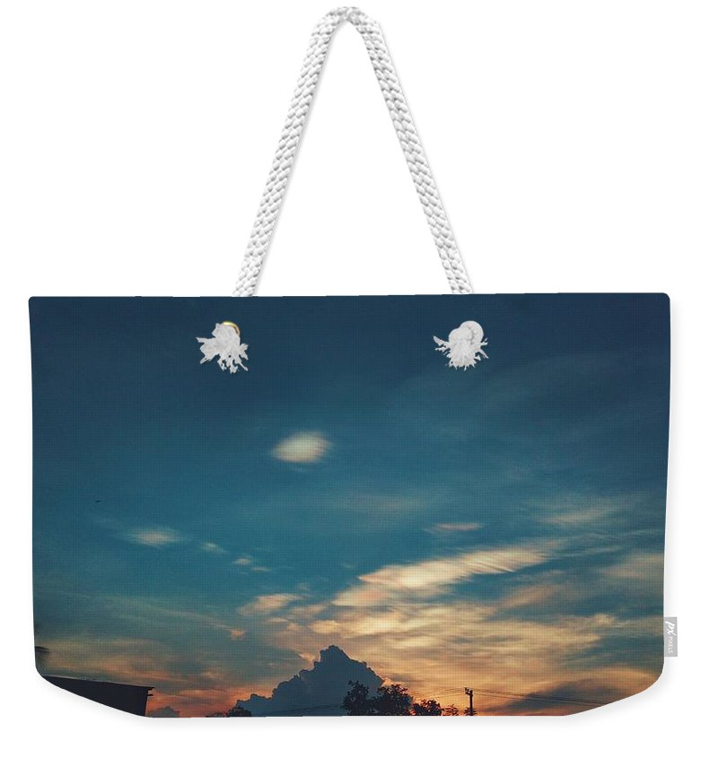 Evening Scenario Landscape Nature Beautiful Dusk Sky Outdoors Colour Clouds Sunset Silhouette Dramatic Sky Tranquility Tree Sunsetmadness Landscapephoto Naturephoto Creativenature Landscapephotography Naturephotography Sunsetporn Cool Bluesky Trees Landscapelovers Nopeople Beautyinnature Sunsetaroundtheworld India Scenic Scenicview Weekender Tote Bag featuring the photograph A Cloudy Mountain by Paresh Patel
